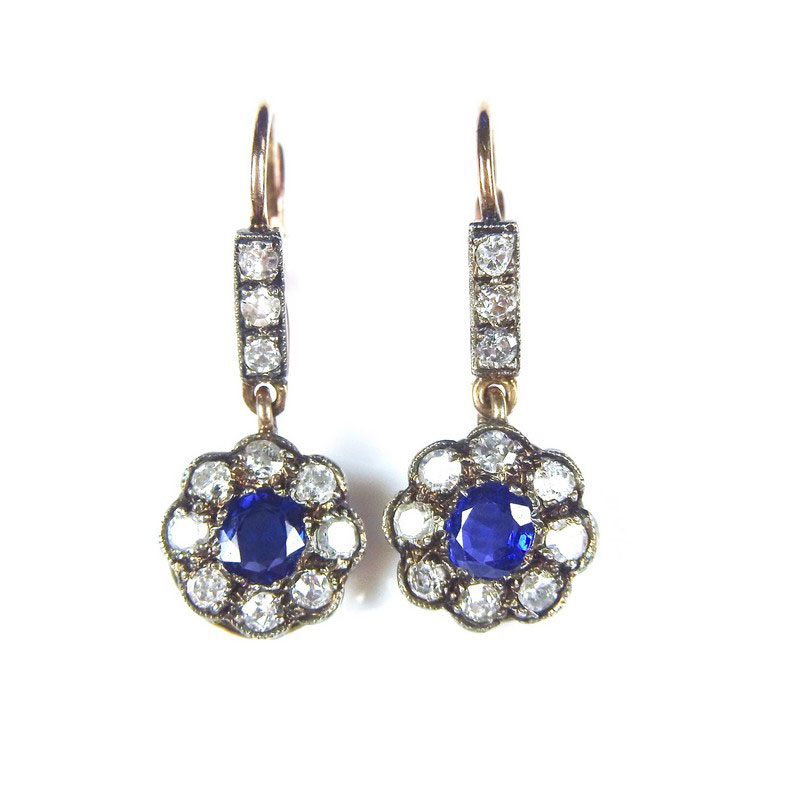 yellow gold sapphire and flower earrings