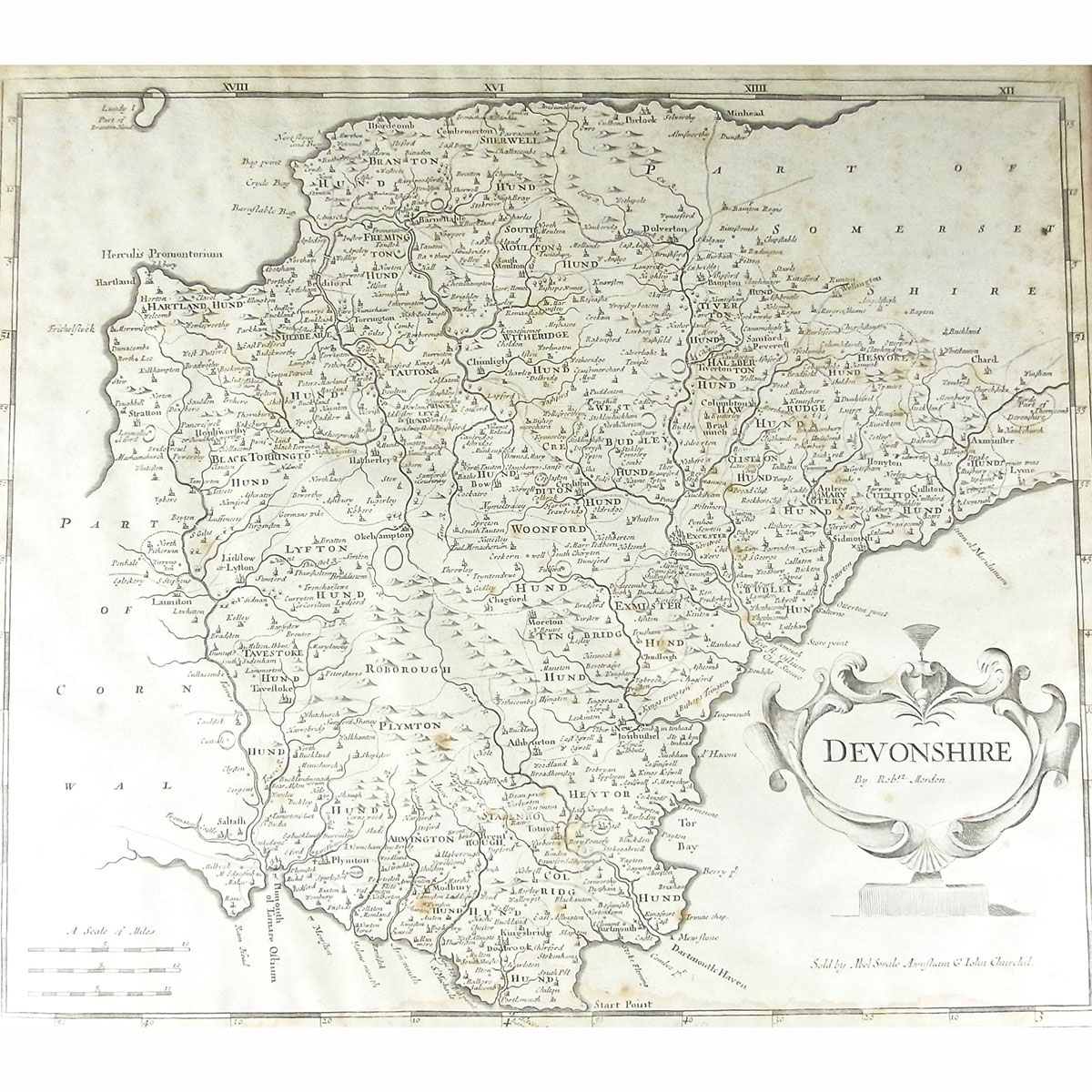 Robert morden an engraved map of devonshire