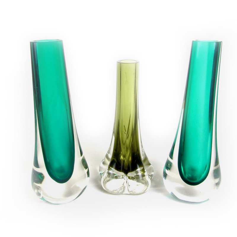 A Group Of Three Whitefriars Glass Vases Designed By Geoffrey Baxter