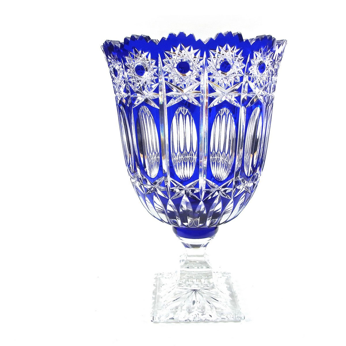 caesar modernism vase azure vases diamond decorative edge objects scalloped items glass crystal large cut blue