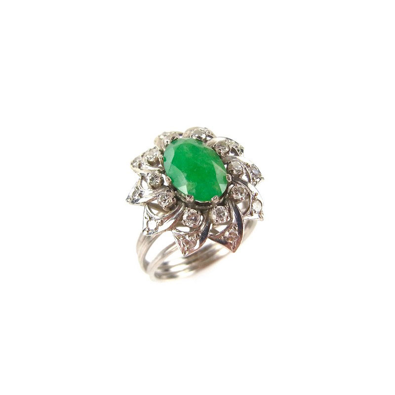 white gold emerald and flower ring