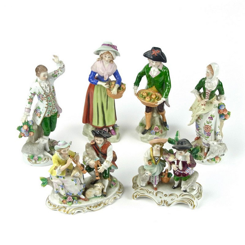 A group of seven German porcelain figurines - Image 1