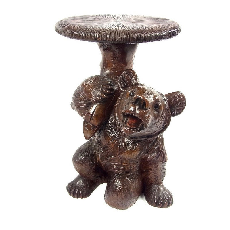 A Swiss Black Forest Bear Piano Stool Early 20th Century