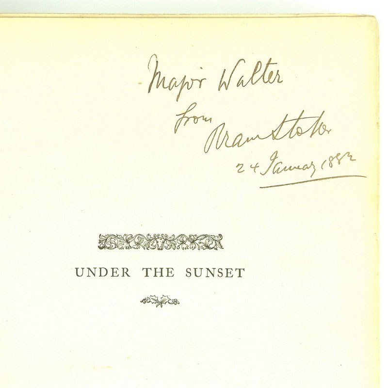 A signed copy of Bram Stoker's book entitled 'Under The Sunset' - Image 2