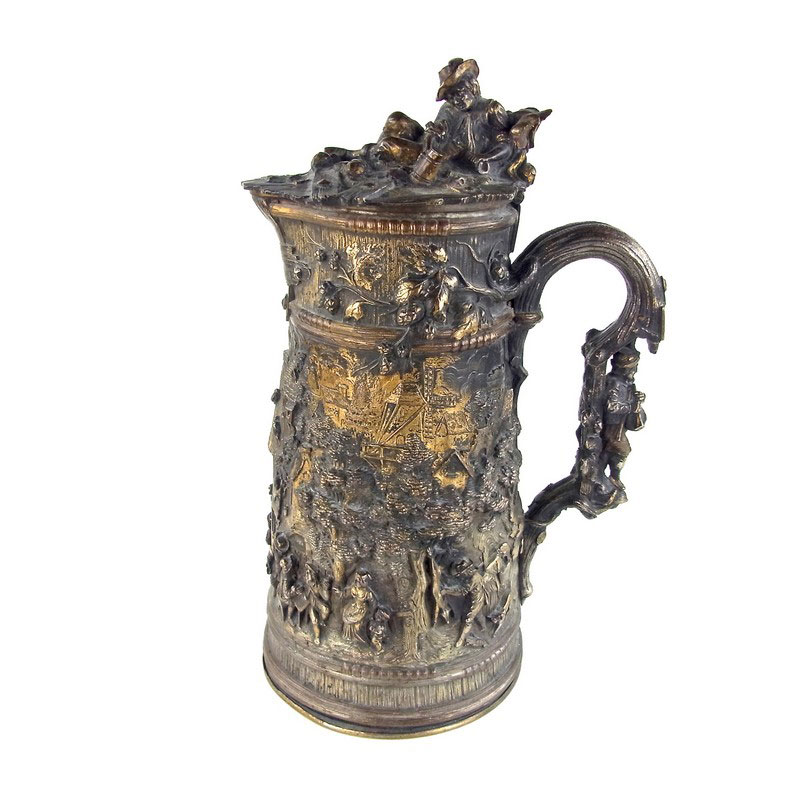 A large Dutch gilt brass tankard, probably late 19th century